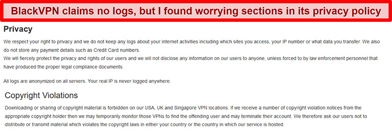 Screenshot of the Privacy and Copyright Violations sections of the BlackVPN Terms of Service