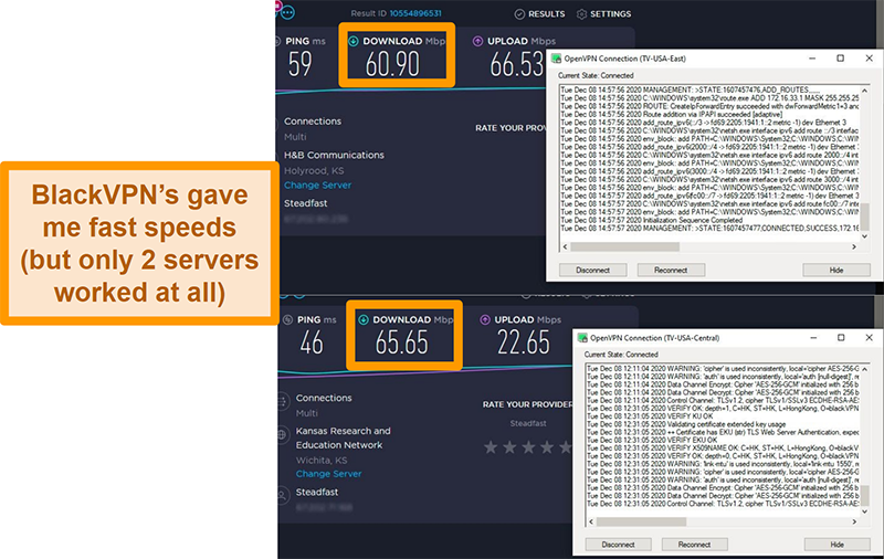 Screenshot of 2 speed tests while connected to BlackVPN servers in the US
