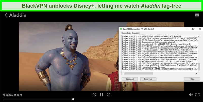 Screenshot of Aladdin on Disney+ while BlackVPN is connected to the US Central streaming server via the OpenVPN client
