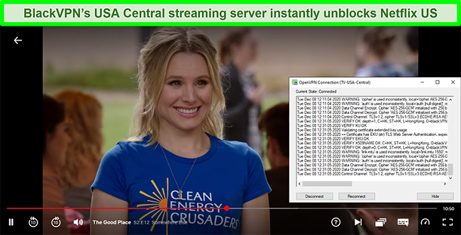 Screenshot of The Good Place on Netflix while BlackVPN is connected to the US Central streaming server via the OpenVPN client