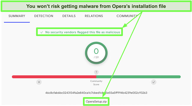 Screenshot of a malware scan showing no viruses found on Opera's installation file