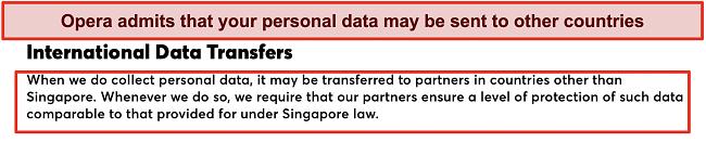 Screenshot of Opera's policy on international data transfers