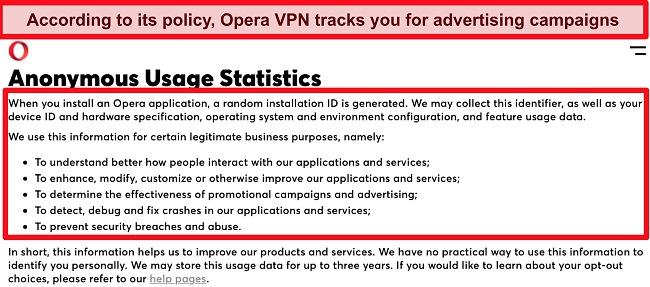 Screenshot of Opera VPN's privacy policy's