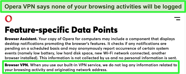 Screenshot of Opera's privacy policy showing the VPN doesn't record logs