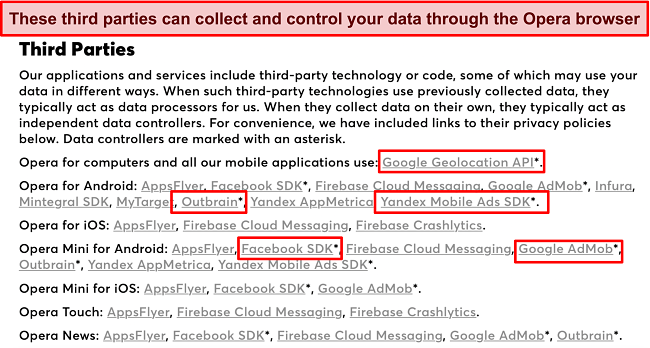 Screenshot of Opera's privacy policy disclosing data collection by third parties