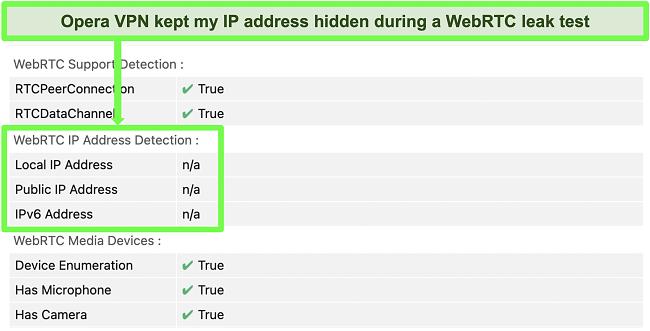 Screenshot of OperaVPN passing WebRTC leak test