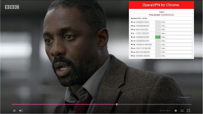 Screenshot of Opera VPN accessing Luther on BBC iPlayer
