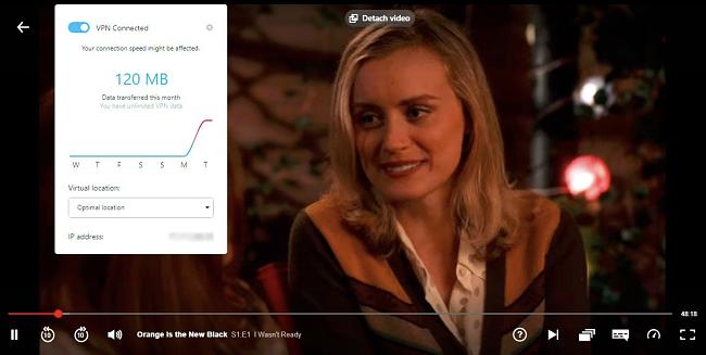 Snímek obrazovky Opera VPN je otevřen, zatímco Orange je nový černý stream na Netflixu