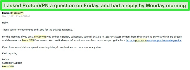 Screenshot of an email reply from ProtonVPN support