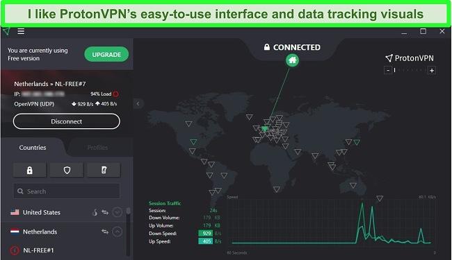 Screenshot of ProtonVPN's user interface on a Windows PC showing its free plan