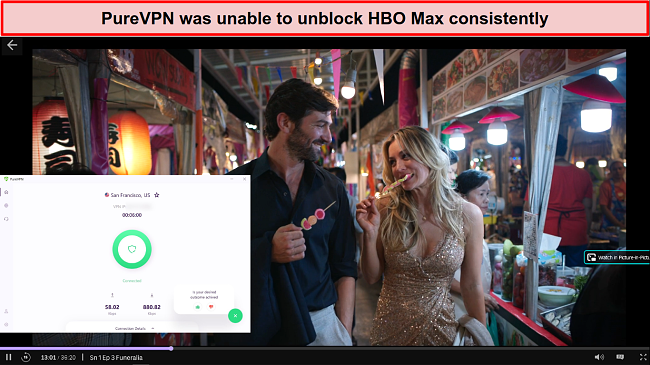 Screenshot of PureVPN unblocking HBO Max