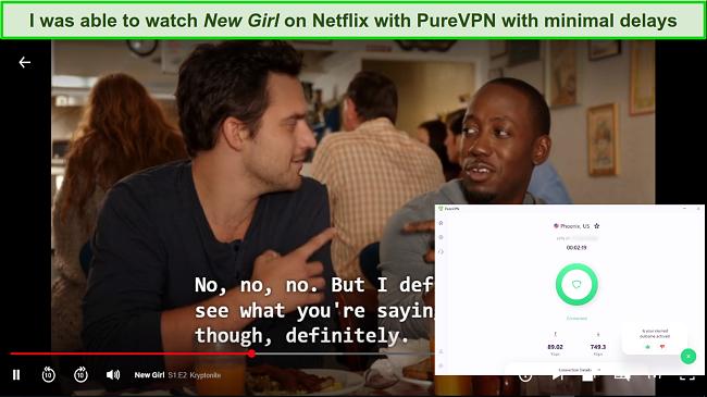 Screenshot of PureVPN unblocking Netflix