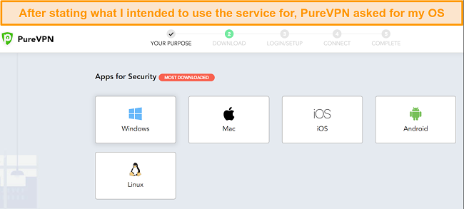 a screenshot of the operating systems that PureVPN supports