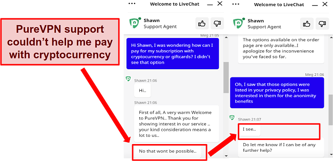 a screenshot of a support chat with a PureVPN representative
