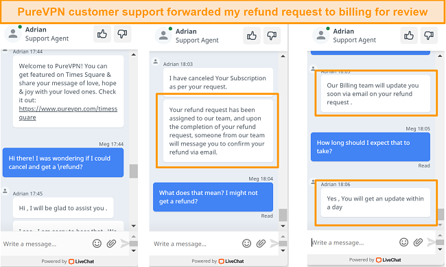 a screenshot of PureVPN's live chat processing a refund request