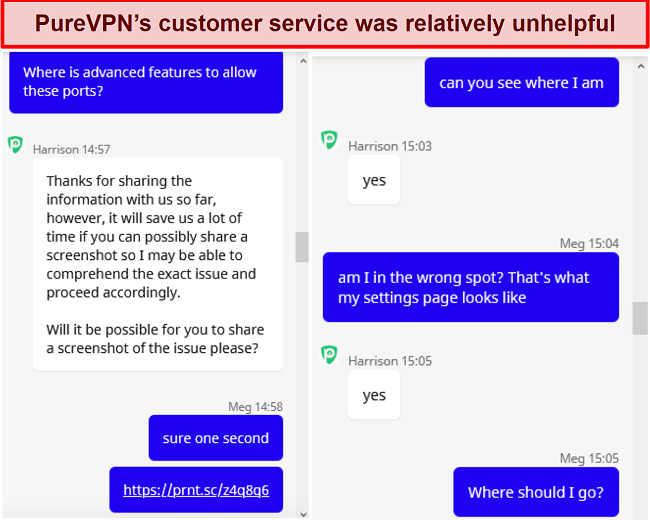 Screenshot of a chat conversation with PureVPN customer support