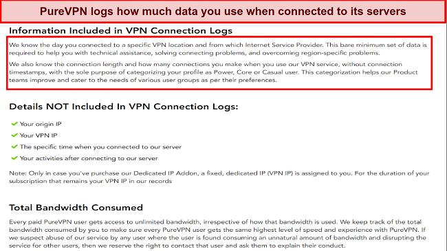 a screenshot of PureVPN's log policy