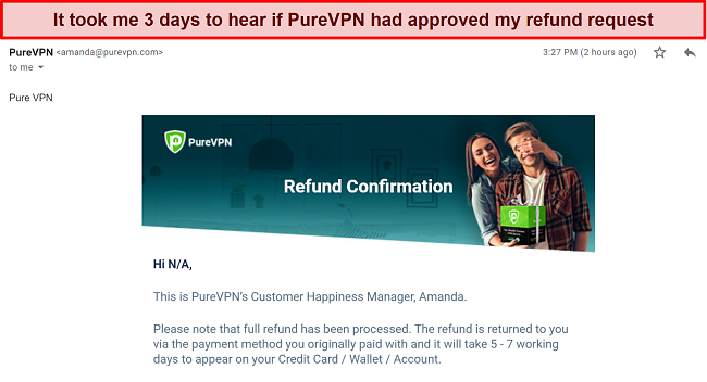 A screenshot of an email from PureVPN's support team confirming a refund request