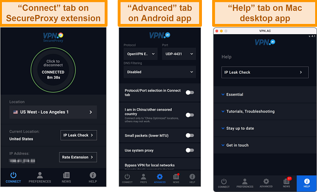 Screenshot of VPN.ac SecureProxy Chrome extension, Android and Mac desktop apps