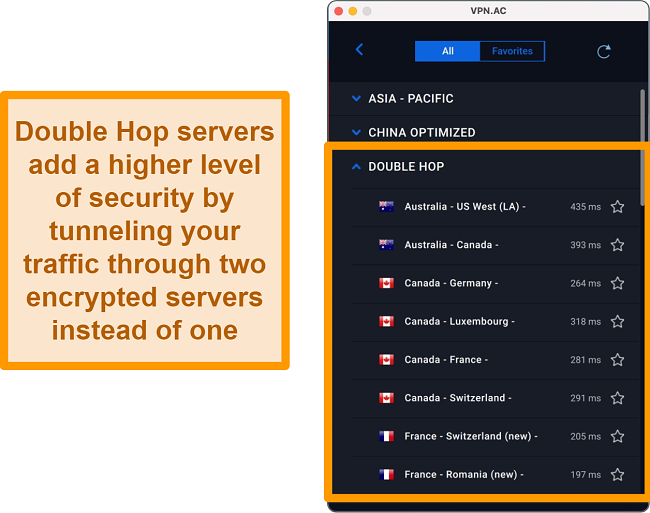 Screenshot of Double Hop servers on VPN.ac app