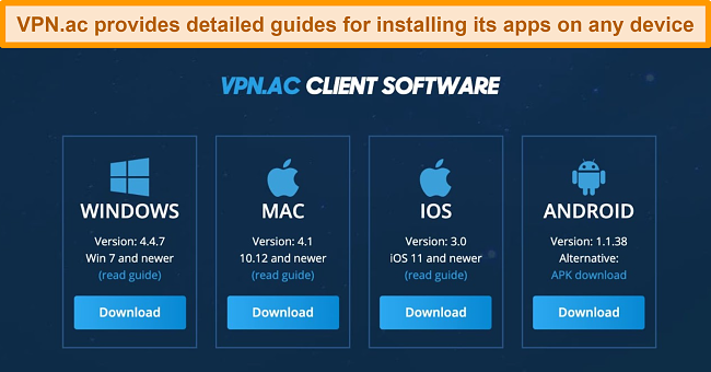 Screenshot of VPN.ac's native apps and installation guides