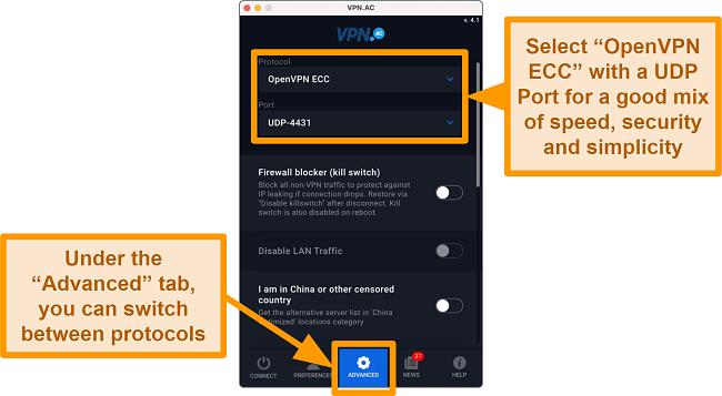 Screenshot of OpenVPN UDP Port on VPN.ac app