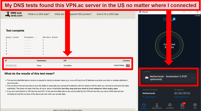 Screenshot of a DNS leak test showing an IP address in the US while VPN.ac is connected to a server in the Netherlands