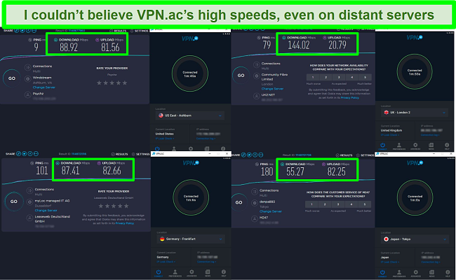 Screenshot of speed tests while VPN.ac is connected to servers in the US, the UK, Germany, and Japan