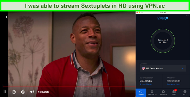 Screenshot of Sextuplets playing on Netflix while VPN.ac is connected to a server in Atlanta, US