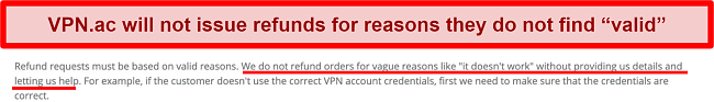 Screenshot of VPN.ac's ToS and Refund Policy