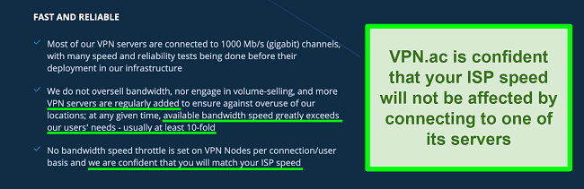 Screenshot of VPN.ac home page and server and speed claims
