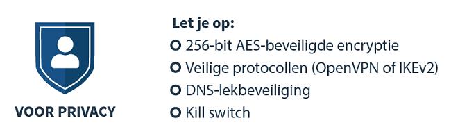 infographic over het kiezen van een VPN voor privacy