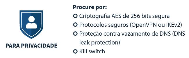 infográfico sobre como escolher uma VPN para privacidade