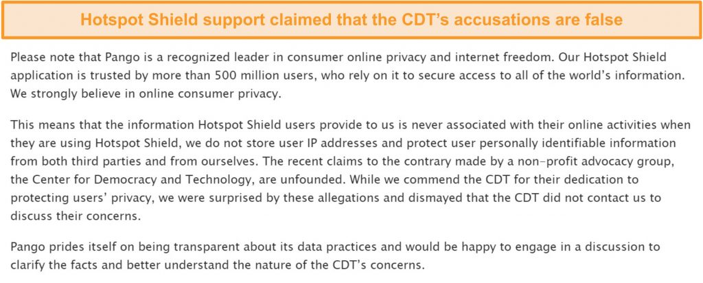 Screenshot of Hotspot Shield's email reply when asked about the 2017 incident involving the CDT filing a complaint to the FTC about Hotspot Shield's data collection practices.
