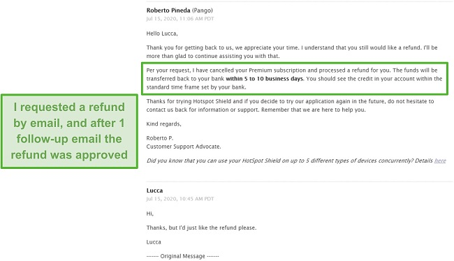 Screenshot of an email conversation with Hotspot Shield support, resulting in a refund being approved.