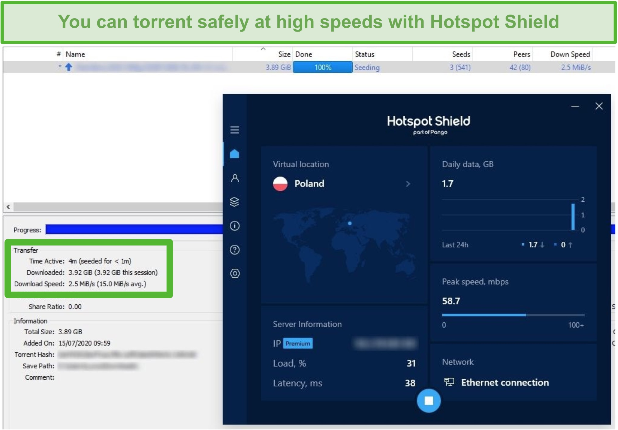 Screenshot of being connected to Hotspot Shield while torrenting a 4GB file in under 4 minutes.