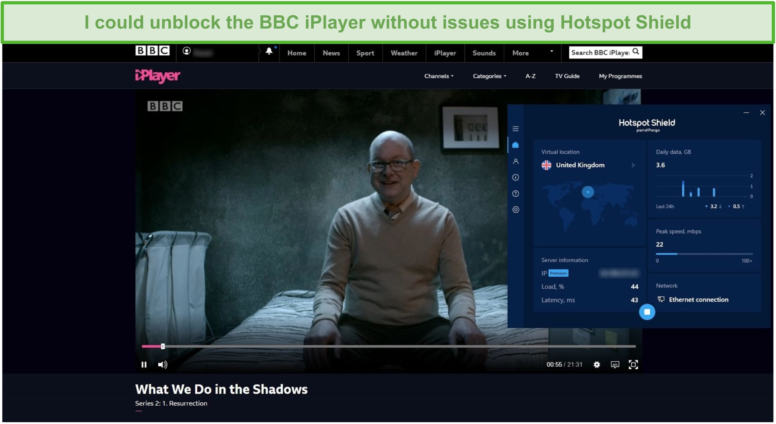 Screenshot of Hotspot Shield unblocking What We Do in the Shadows on BBC iPlayer.