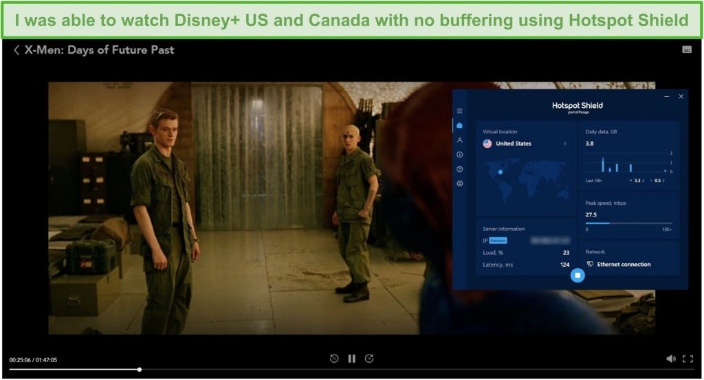 Screenshot of Hotspot Shield unblocking Disney+ and streaming X-Men: Days of Future Past.