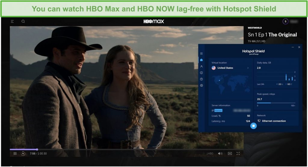 Screenshot of Hotspot Shield unblocking Westworld on HBO Max.