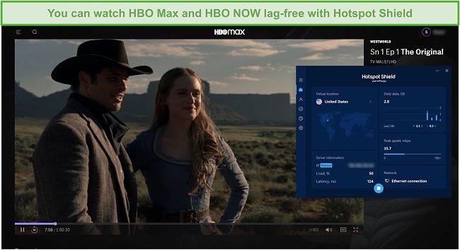 Screenshot of Hotspot Shield unblocking Westworld on HBO Max.