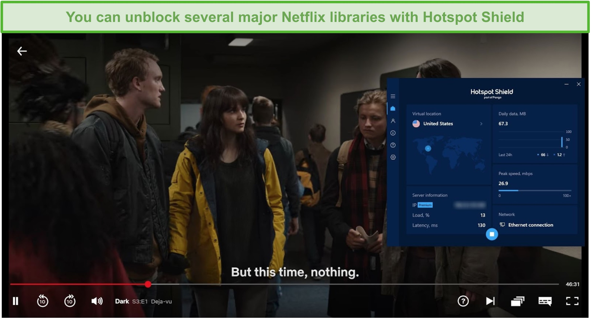 Screenshot of Hotspot Shield unblocking Netflix and streaming Dark.