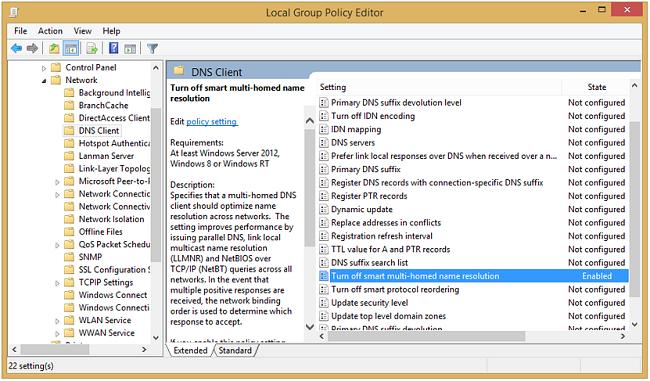Capture d'écran du paramètre du client DNS Windows