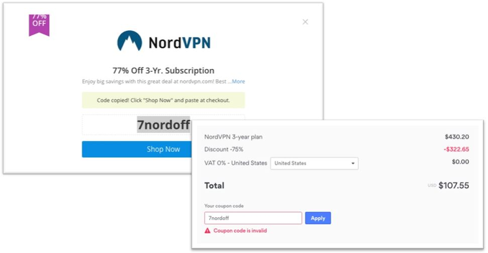 fake ad - 77% off for NordVPN