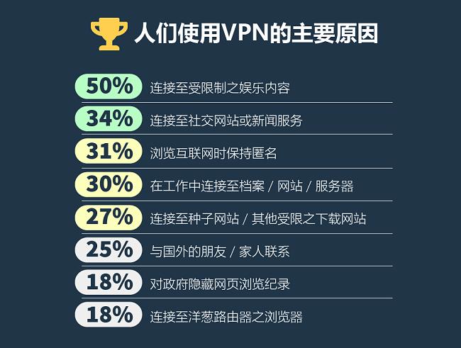 人们使用VPN的主要理由上的信息图