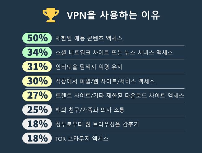 사람들이 VPN을 사용하는 주요 이유에 대한 인포 그래픽