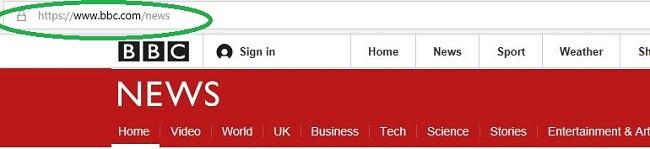 Screenshot of BBC News website