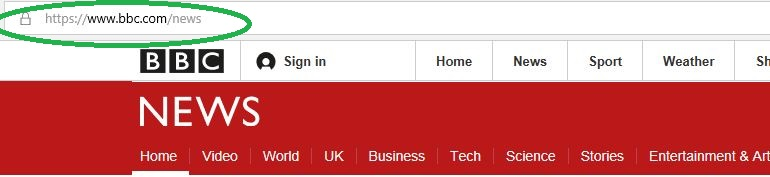 Screenshot of BBC News website