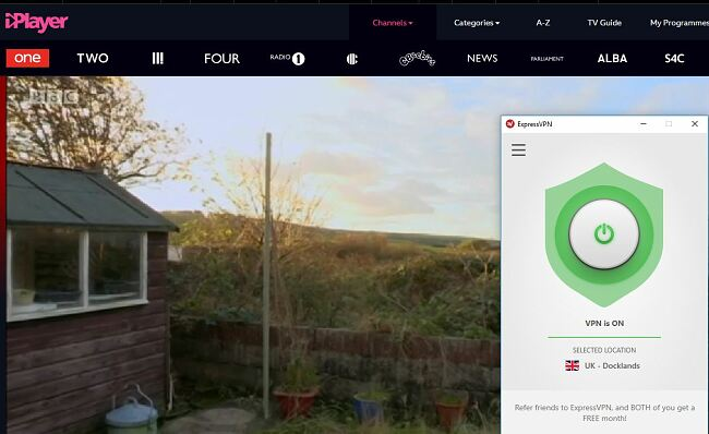 Screenshot of BBC streaming on BBC iPlayer with ExpressVPN connected