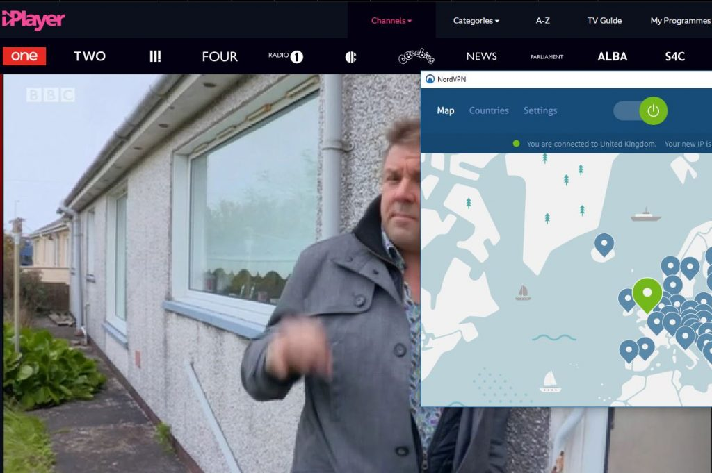 Screenshot of BBC streaming on BBC iPlayer with NordVPN connected