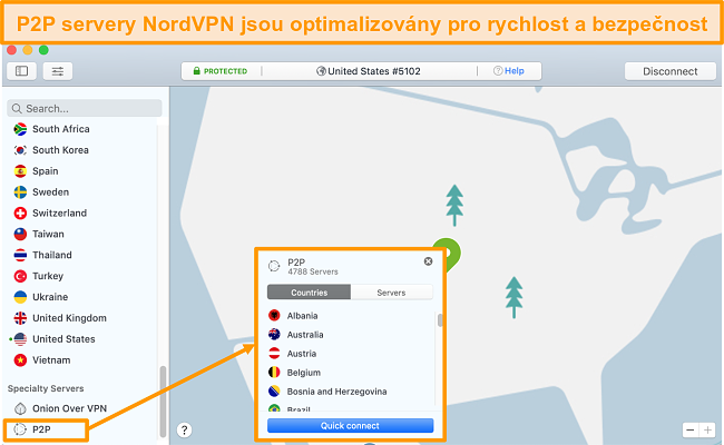 Screenshot of NordVPN's quick connect feature for its P2P servers
